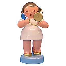 Angel with trombone  -  Blue Wings  -  standing  -  6cm / 2,3 inch