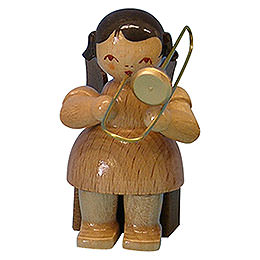 Angel with trombone  -  natural colors  -  sitting  -  5cm / 2 inch