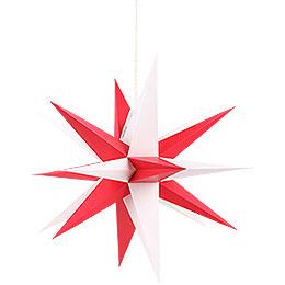 Annaberger Faltstern mit rot - weißen Spitzen  -  35cm