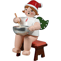 Baker angel sitting with hat and dough bowl  -  6,5cm / 2.5inch