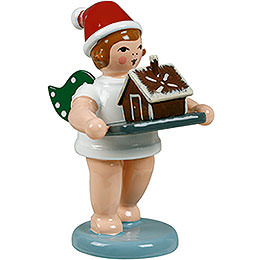 Baker angel with hat and ginger bread house  -  6,5cm / 2.5inch