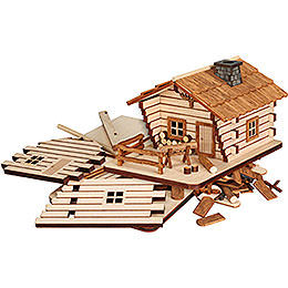 Bastelset Räucherhaus Blockhütte  -  9cm