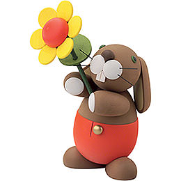"Bunny ""Hugo"" with Sun Flower  -  16cm / 6.3 inch"