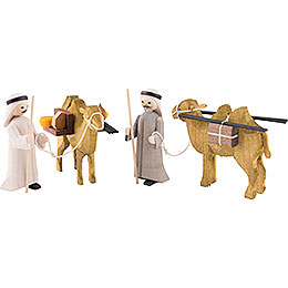 Camel herders, set of four, glazed  -  7cm / 2.8inch