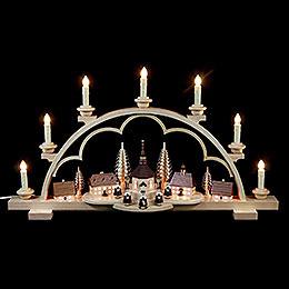 Candle Arch  -  Village Seiffen  -  64cm / 25 inch  -  120 V electr. (US - standard)