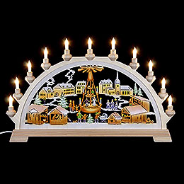 Candle arch Christmas market with pyramid, colored  -  65x40cm / 26x17.5inch