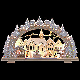 Candle arch Christmas time with sledding child and dog  -  53x31x4,5cm / 21x8x1.8inch