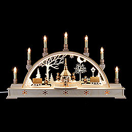 Candle arch 'Church of Seiffen with carolers' with LED interior lights  -  63x35cm / 25.6x13.8inch