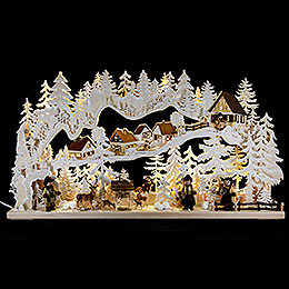 Candle arch joy of the forest with white frost  -  85x45cm / 33x18inch