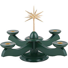 Candle holder width Christmas star and advent green  -  29x29x26cm / 11.4x11.4x10.2inch