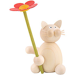 Cat Moritz with flower  -  8cm / 3.1inch