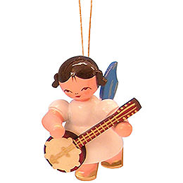 Christbaumschmuck Engel mit Banjo  -  Blaue Fl�gel  -  schwebend  -  5,5cm