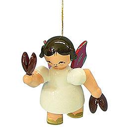 Christbaumschmuck Engel mit Kastagnetten  -  Rote Flügel  -  schwebend  -  5,5cm