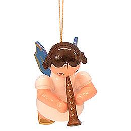 Christbaumschmuck Engel mit Klarinette  -  Blaue Flügel  -  schwebend  -  5,5cm