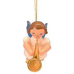 Christbaumschmuck Engel mit Saxophon  -  Blaue Flügel  -  schwebend  -  5,5cm