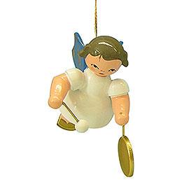 Christbaumschmuck Engel mit kleinem Gong  -  Blaue Flügel  -  schwebend  -  5,5cm