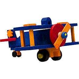 Christbaumschmuck Flugzeug blau und orange  -  5cm