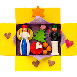 Christbaumschmuck Geschenkpäckchen Engel und Bergmann mit Faden  -  7cm