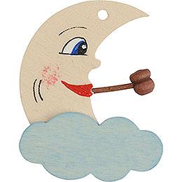 Christbaumschmuck Mond bemalt weiß und blau  -  5cm