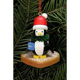 Christbaumschmuck Pinguin auf Lebkuchenherz  -  5,0x6,0cm