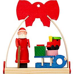 Christbaumschmuck Schleife Weihnachtsmann mit Schlitten  -  7cm