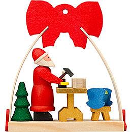 Christbaumschmuck Schleife Weihnachtsmann mit Werkstatt  -  7cm
