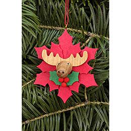 Christbaumschmuck Weihnachtsstern mit Elch  -  6,5x6,5cm