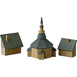 Church of Seiffen with houses  -  11cm / 4.3inch