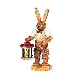 Easter bunny with bird cage  -  11cm / 4 inch