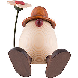 Egghead Father Anton  with Flower Sitting on Edge, Brown  -  15cm / 5.9 inch