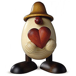 Egghead Father Hanno with heart, brown  -  15cm / 5.9inch