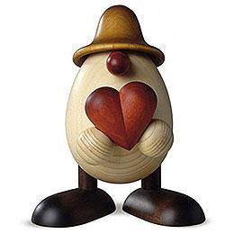 Eierkopf Vater Hanno mit Herz, braun  -  15cm