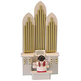 """Engel an der Orgel mit Spielwerk """"Stille Nacht""""  -  Rote Flügel  -  stehend  -  6cm"""