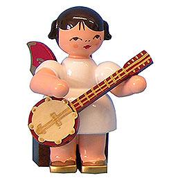 Engel mit Banjo  -  Rote Flügel  -  sitzend  -  5cm