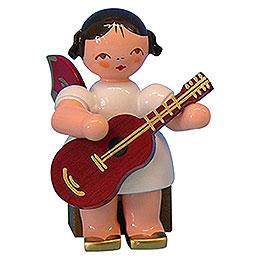 Engel mit Gitarre  -  Rote Fl�gel  -  sitzend  -  5cm