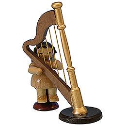 Engel mit Harfe  -  natur  -  sitzend  -  6cm