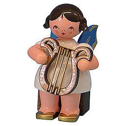 Engel mit Leier  -  Blaue Flügel  -  sitzend  -  5cm