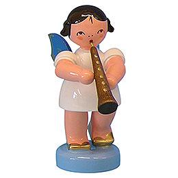 Engel mit Oboe  -  Blaue Flügel  -  stehend  -  6cm