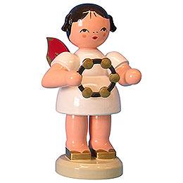 Engel mit Schellenring  -  Rote Flügel  -  stehend  -  9,5cm