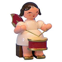 Engel mit Trommel  -  Rote Fl�gel  -  sitzend  -  5cm