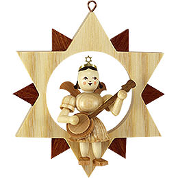 Engel with Banjo in Star, Natural  -  9cm / 3.5 inch