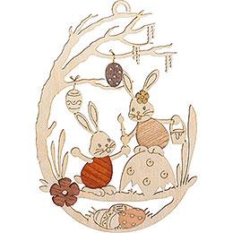 Fensterbild Stupsi Hase auf Eierschale  -  25cm