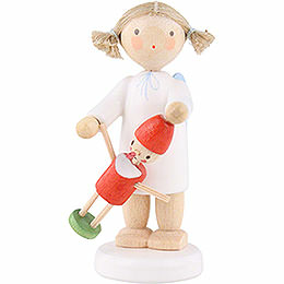 Flachshaarengel mit Pinocchio  -  5cm