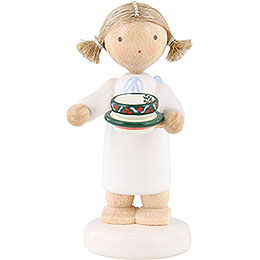 Flax Haired Angel with Tea Cup  -  5cm / 2 inch
