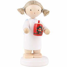 Flax haired angel with Christmas candle  -  5cm