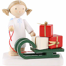 Flax haired angel with Christmas sleigh  -  5cm