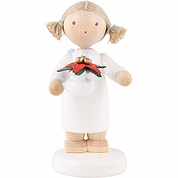 Flax haired angel with Christmas star  -  5cm