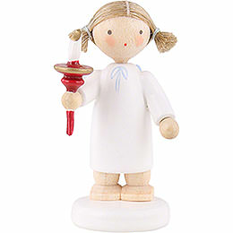 Flax haired angel with candle  -  5cm