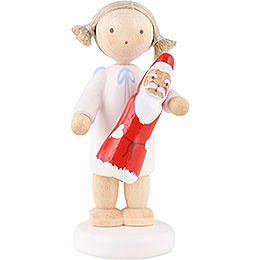 Flax haired angel with chocolate Santa  -  5cm