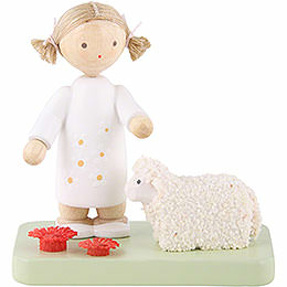 Flax haired children girl with little lamb  -  5cm / 2inch